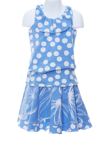 Fashion Forward Peri Polka-Dot Top & Blooming Skort
