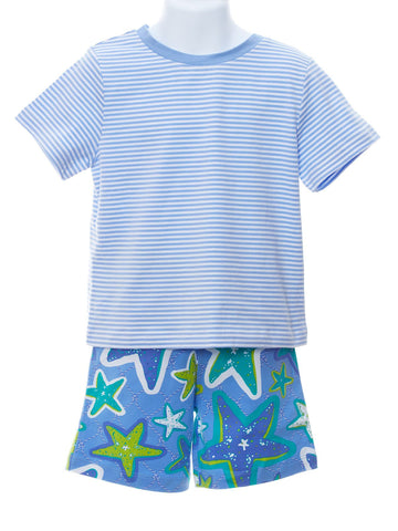 Boys Boutique Wear Periwinkle Top & Sammy Starfish Shorts