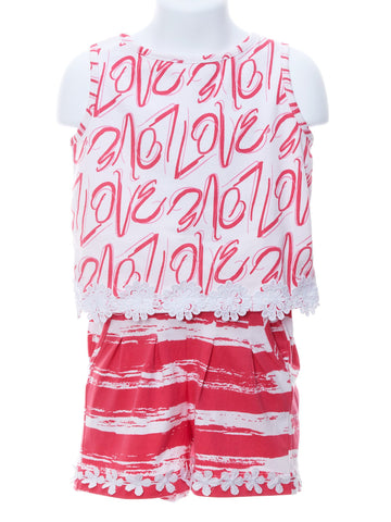Boutique LOVE Top with Hot Pink Shorts