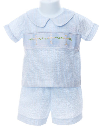 Faith Smocked Boys Seersucker Short Set