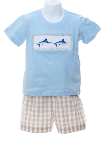 Lets Go Fishing Smocked Marlins T-shirt & Shorts