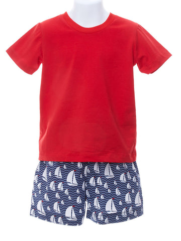 Baby Boy Red Hot T-shirt with Sailboat Shorts