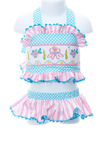 Sea Life Smocked Two Piece Swimsuit