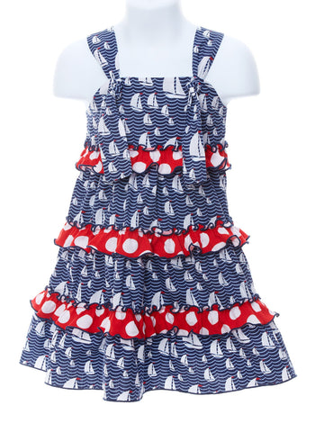 Girl's Nautical Theme Sailboat Knot Tied Dress