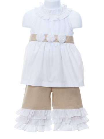 Take A Look Linen Capri Set with Flowers & Ruffles