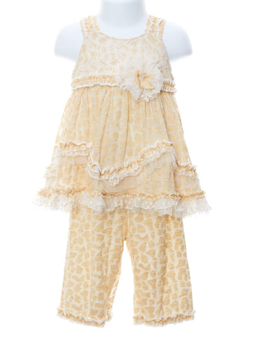 High Fashion Marigold Ruffle & Lace Set