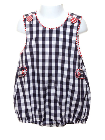 Baby Boy Navy Gingham Bubble with Gingham Trim