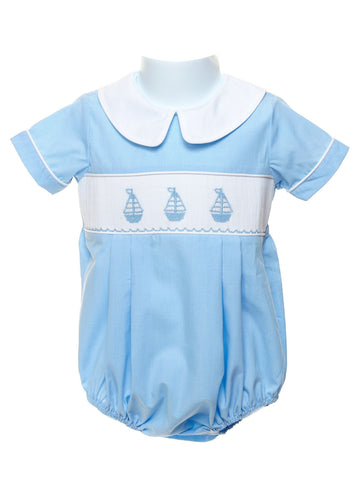 Boys Sailboat Smocked Bubble