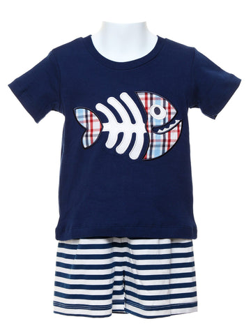 Fish Applique Boys T-shirt and Shorts