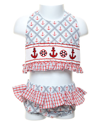Anchor Smocked Toddler 2pc. Swimsuit