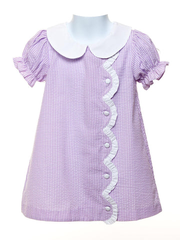 Lavendar Gingham Scallop Dress