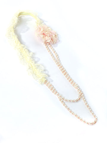 Pearl and Lace Necklace with Pink Flower