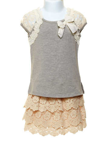 Lace Detailed Tee and Tiered Lace Skort