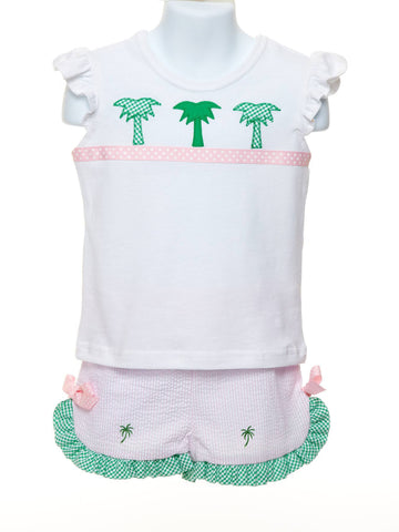 Angel Sleeve Top with Palms & Ruffle Shorts