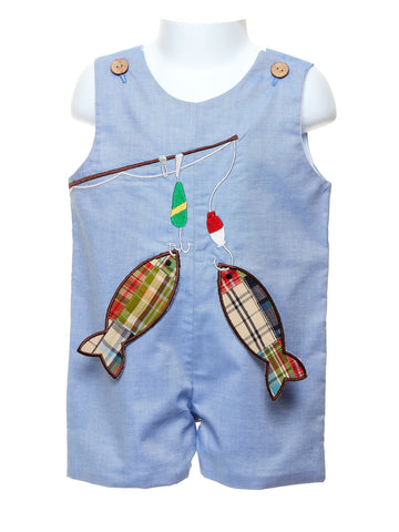 Blue Shortall with Appliquéd Fish