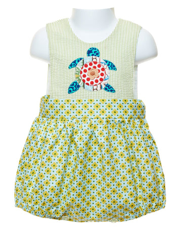 La Jenns Baby Girl Bubble with Appliquéd Turtle