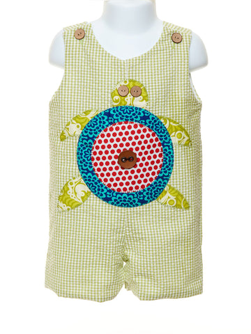 Baby Boy's Romper with Appliquéd Turtle