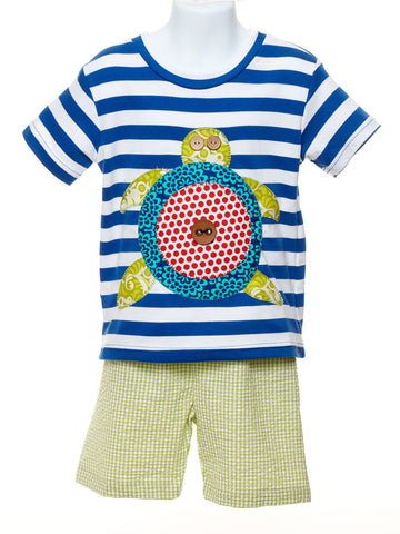 Boys Appliqued Sea Turtle Shirt with Seersucker Shorts