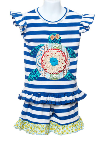 Girls Appliqued Sea Turtle Top with Ruffle Hem Shorts