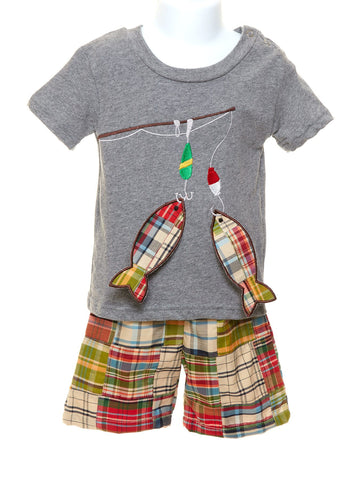 Tee with Appliquéd Fish & Plaid Shorts