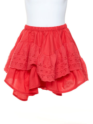 Frilled Lace Girls Skirt in Rose Pink