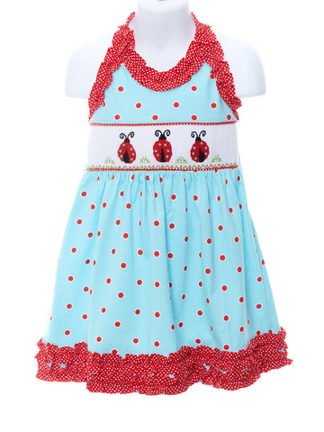 Girl's Ladybug Smocked Tie Dress