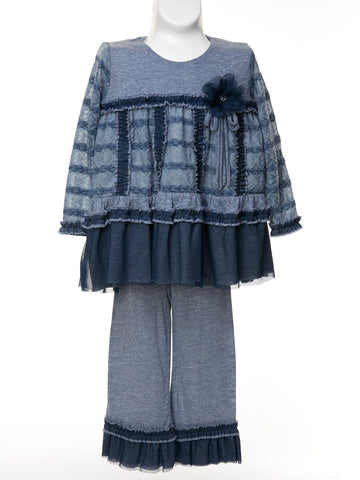 Richly Detailed  Dusty Blue 2-Pc Pant Set