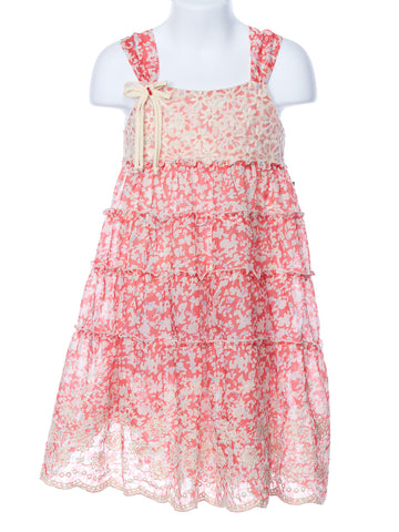 Isobella and Chloe Coral Poppy Fields Dress