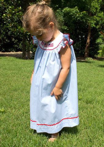 Fireworks & Pool Party Ready Blue Smocked Toddler Angel Wing Dress