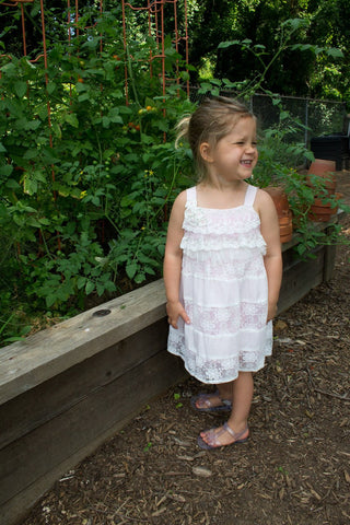Tiered Pink Lace Sundress