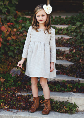 Mabel + Honey Girls Long Sleeve Classic Dress