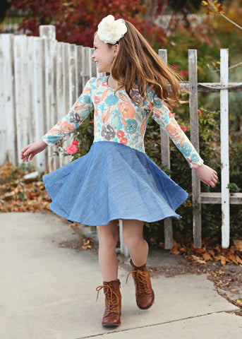 Mabel + Honey Girls Secret Garden Print Dress