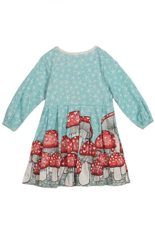 Paper Wings Baby Girl Pleated Mushroom Border Dress
