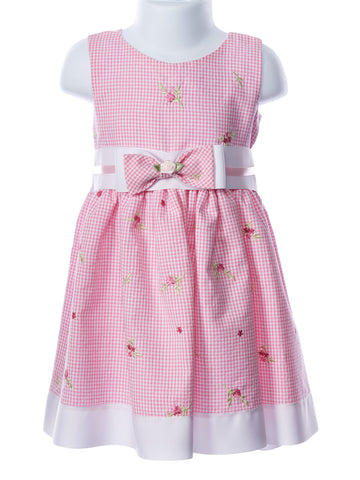 Swea´ Pea & Lilli Girl's Pink Embroidered Gingham Bow Waist Dress