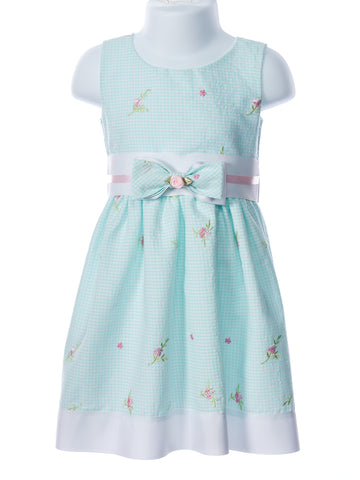 Swea´ Pea & Lilli Girl's Mint Embroidered Gingham Bow Waist Dress