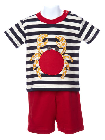 LaJenns Boy's Two Piece Crab Appliqué Set