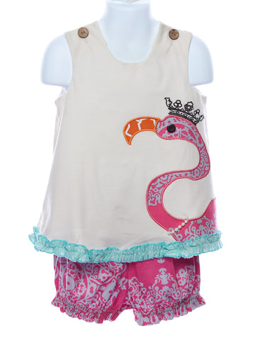 LaJenns Baby Girl Set with Flamingo Appliqué