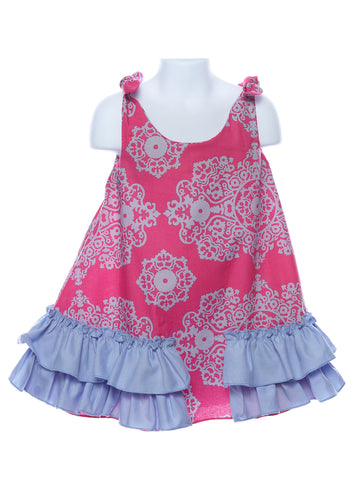 LaJenns Girl's Swing Dress in Bright Pink