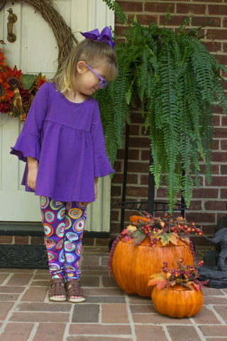 Three Friends Girl's Purple Tunic and Print Leggings