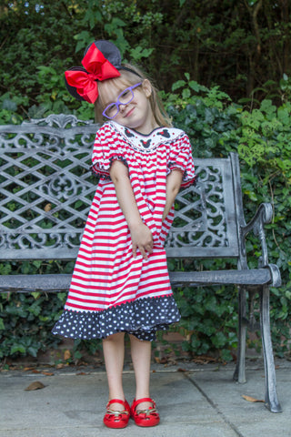 Banana Split Smocked Mouse Bishop Dress
