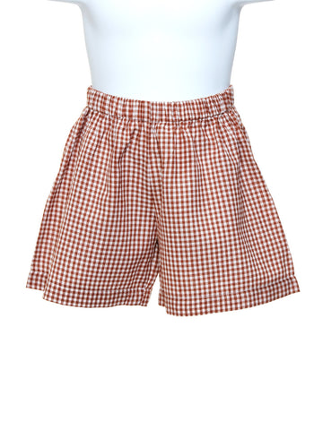 Boys Brown Check Shorts