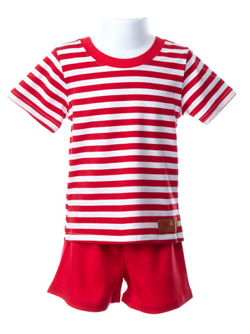 Millie Jay Boy's Red & White Stripe Short Set