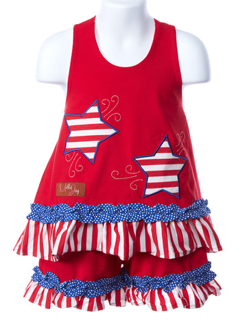 Millie Jay Stars & Stripes Applique Halter Shortset