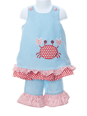 Blue Ruffle Crab Baby Girl Popover with Shorts