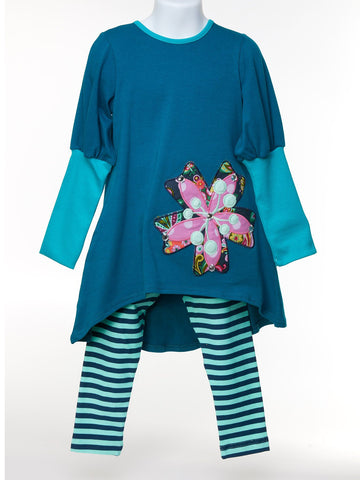Balloon Sleeve Jeweled Tunic w. Stripe Leggings
