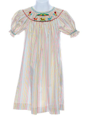 Mom & Me Smocked Carousel Bishop Dress