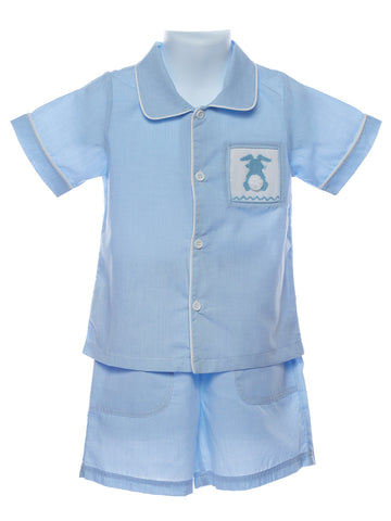 Mom & Me Baby Boy & Boys Smocked Patch Pocket Bunny Set