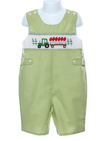 Mom & Me Baby Boys Smocked Strawberry Tractor Jon-Jon