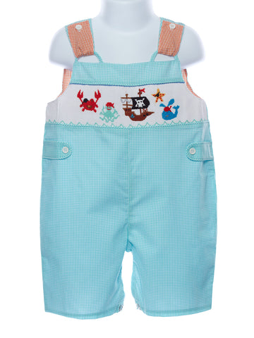 Mom & Me Baby Boys Smocked Pirate Sunsuit