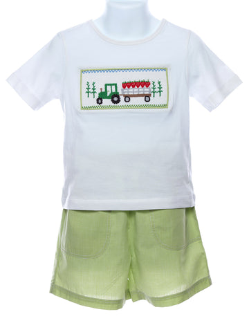 Mom & Me Boys Smocked Strawberry Tractor Set